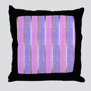 Pink, Blue and Gold Striped Throw Pillow