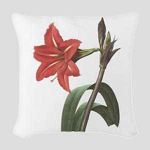 Redoute Amaryllis Woven Throw Pillow