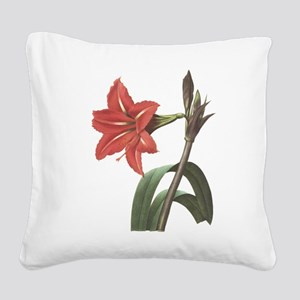 Redoute Amaryllis Square Canvas Pillow