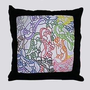 LAX skateboards by bjork all over men Throw Pillow