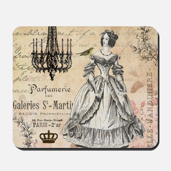 Vintage French shabby chic lady Mousepad