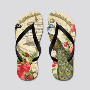 Vintage French Peacock and roses Flip Flops