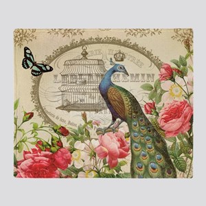 Vintage French Peacock and roses Throw Blanket