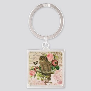 Vintage French shabby chic owl Square Keychain