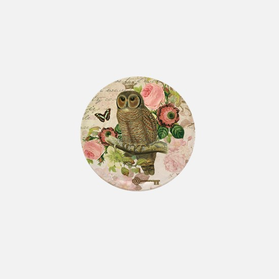 Vintage French shabby chic owl Mini Button