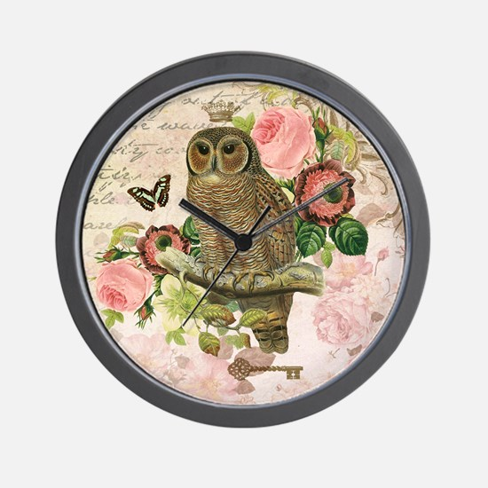 Vintage French shabby chic owl Wall Clock