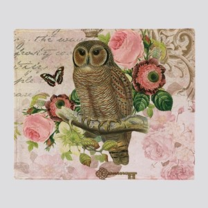 Vintage French shabby chic owl Throw Blanket