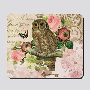 Vintage French shabby chic owl Mousepad
