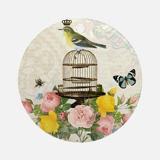 Vintage French birdcage and bird Round Ornament