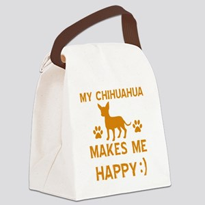 My Chihuahua Makes Me Happy Canvas Lunch Bag