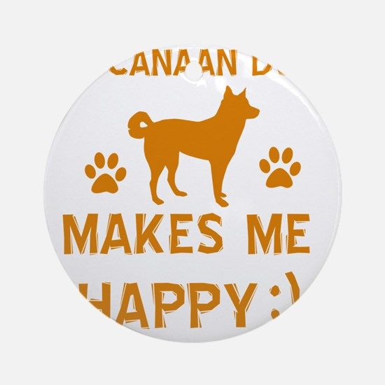 My Canaan Dog Makes Me Happy Round Ornament