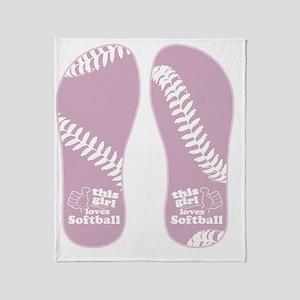 This Girl Loves Softball Throw Blanket