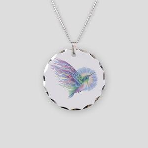 Hummingbird Art Necklace Circle Charm