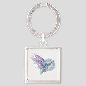 Hummingbird Art Square Keychain
