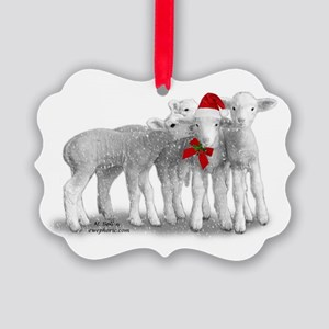 Christmas Hat Lambs Ornament