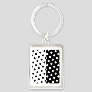 White and Black Polka Dots Portrait Keychain