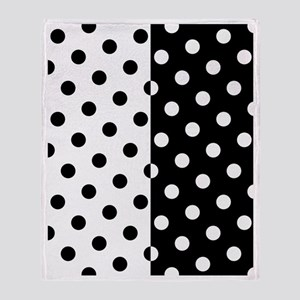 White and Black Polka Dots Throw Blanket