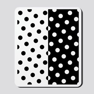 White and Black Polka Dots Mousepad