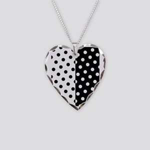 White and Black Polka Dots Necklace Heart Charm
