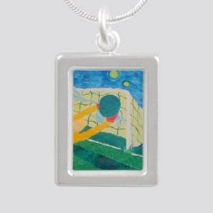 Soccer Dream Keeper Silver Portrait Necklace