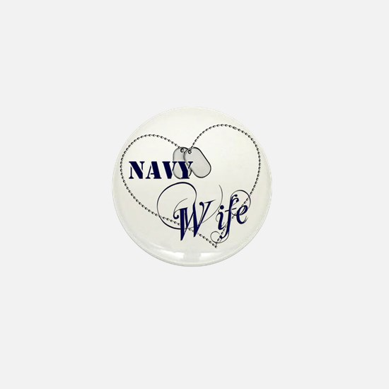 Navy Wife for dark backgrounds Mini Button