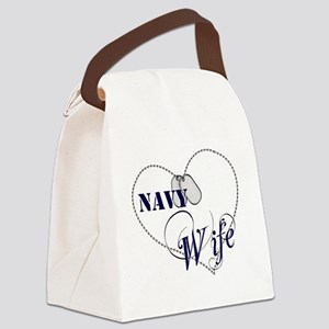 Navy Wife for dark backgrounds Canvas Lunch Bag