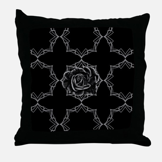 Black Rose On Gothic Throw Pillow