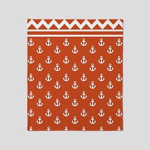 Anchors Chevrons D60x84 W pumpkin Throw Blanket