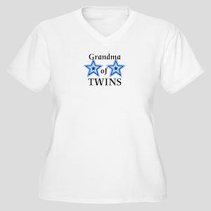 Grandma of Twins (Boys) Women's Plus Size V-Neck T