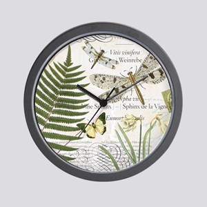 Vintage French dragonflies Wall Clock