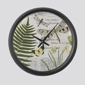 Vintage French dragonflies Large Wall Clock