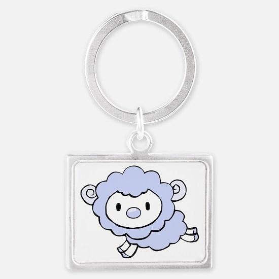 Cute Blue Sheep Landscape Keychain
