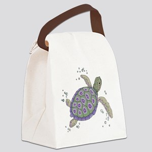 Swimming Sea Turtle Canvas Lunch Bag