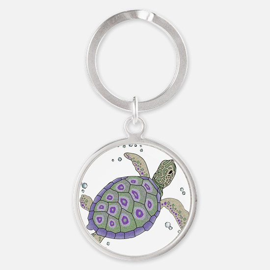 Swimming Sea Turtle Round Keychain