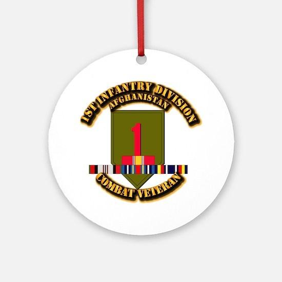 Army - 2nd ID w Afghan Svc Ornament (Round)
