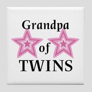 Grandpa of Twins (Girls) Tile Coaster