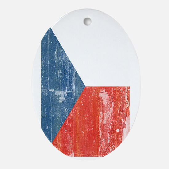 Distresssed Czech Republic Flag 3 by Oval Ornament