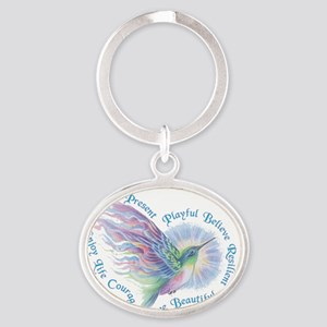 Hummingbird Heart Art Oval Keychain