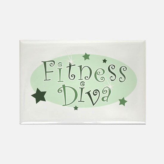 """Fitness Diva"" [green] Rectangle Magnet"