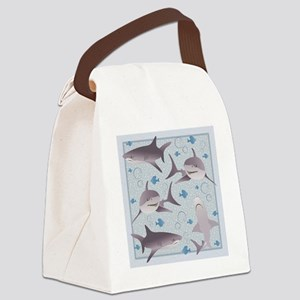 Sharks Swimming Canvas Lunch Bag