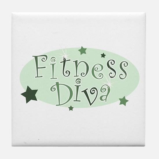 """""""Fitness Diva"""" [green] Tile Coaster"""