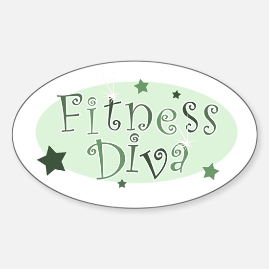 """Fitness Diva"" [green] Oval Decal"