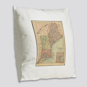 Vintage Map of New England (18 Burlap Throw Pillow