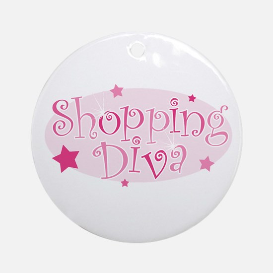 """Shopping Diva"" [pink] Ornament (Round)"