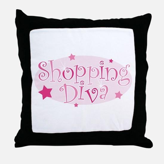 """Shopping Diva"" [pink] Throw Pillow"
