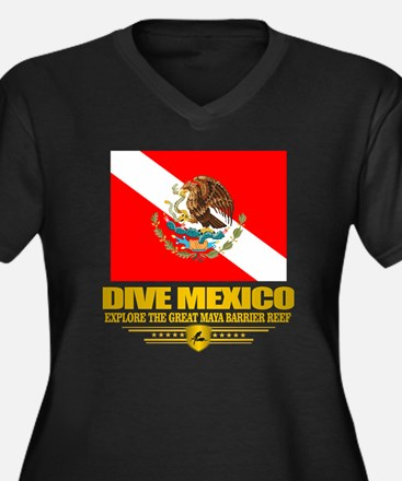 Dive Mexico  Women's Plus Size Dark V-Neck T-Shirt