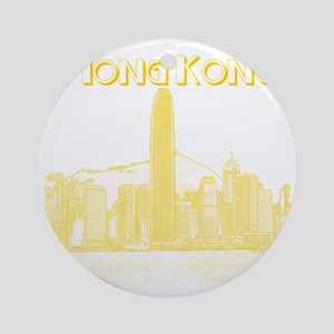 HongKong_10x10_v1_Skyline_Central_Y Round Ornament