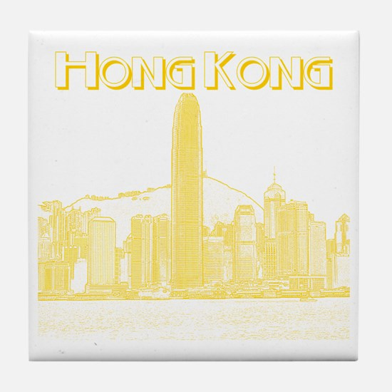 HongKong_10x10_v1_Skyline_Central_Yel Tile Coaster