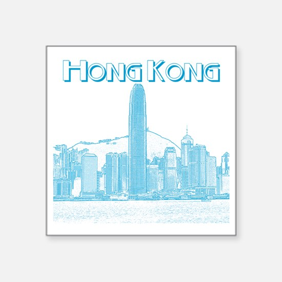 """HongKong_10x10_v1_Skyline_C Square Sticker 3"""" x 3"""""""