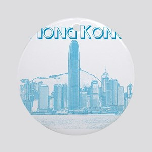 HongKong_10x10_v1_Skyline_Central_B Round Ornament